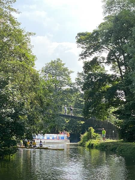 bridge, boat, river and nature