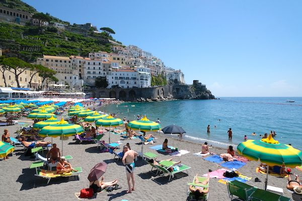 The sand beach in Amalfi