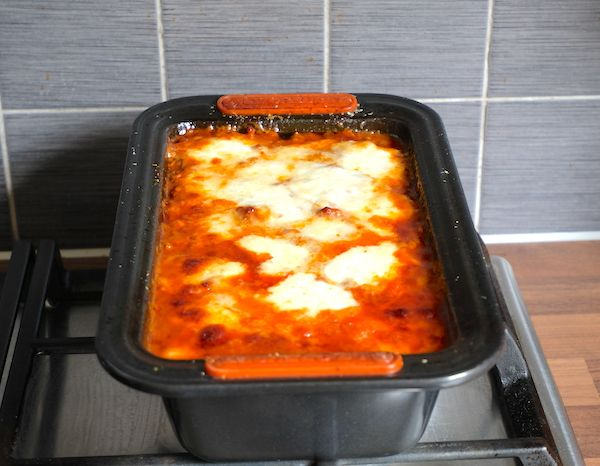 Meat Aubergine Parmigiana out of the oven