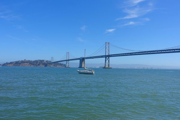 The Bay bridge which links San Francisco with Oakland on the east