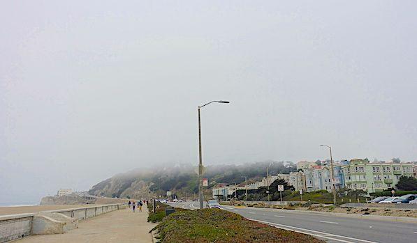 Houses on Ocean Beach on a foggy day