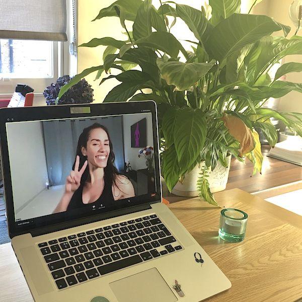 Cat Medina in laptop screen