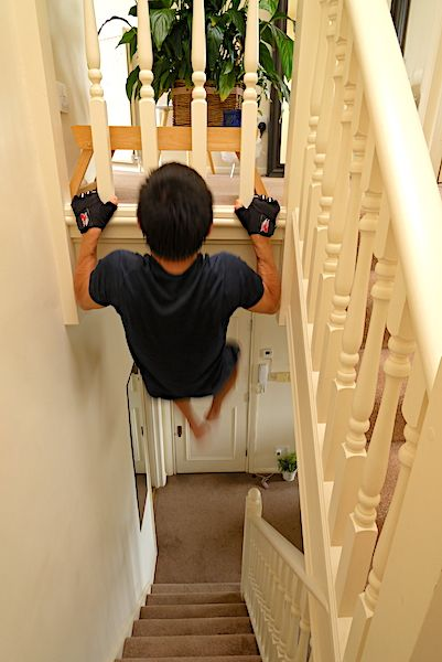 pull-ups in the staircase