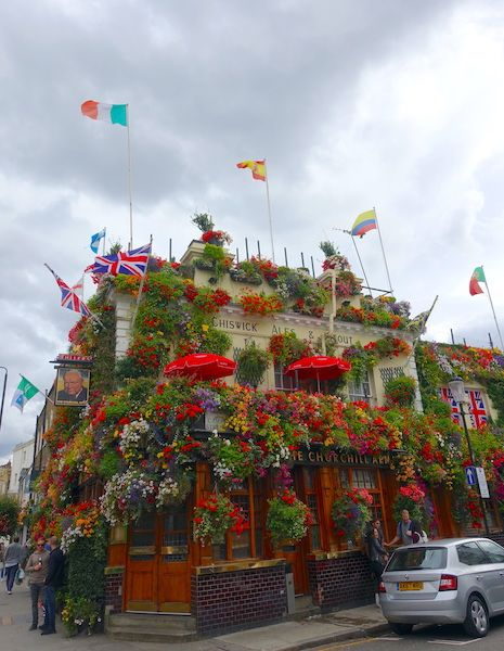 The flowery Churchill Arms