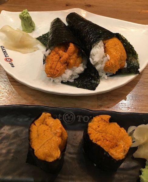 Uni temaki and nigiri at Eat Tokyo