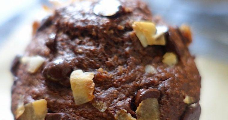 Dark chocolate, banana & coconut muffins recipe