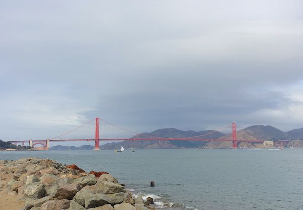 The Golden Gate bridge on a cloudy day