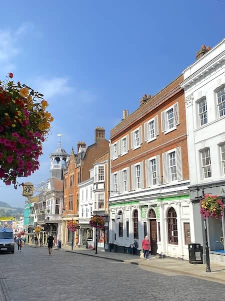 Shops and beautiful architecture on High Street