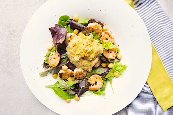 Hummus-and-shrimp-salad