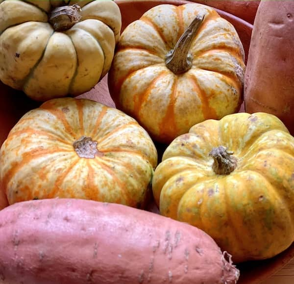 sweet potato and squash close-up