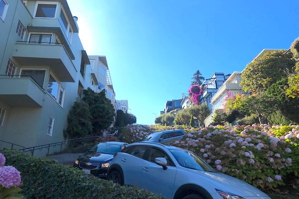 Lombard Street with traffic going down