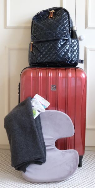 suitcase, backpack, cushion, blanket and wipes