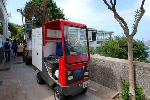Small vehicles allowed in the traffic-free streets of Capri Town