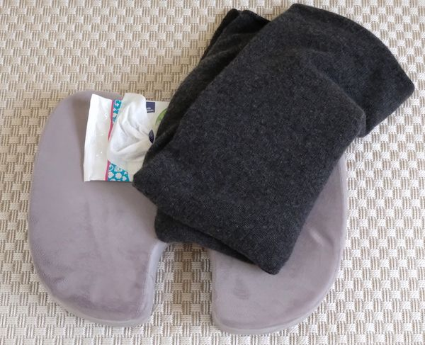 cushion, blanket and wipes