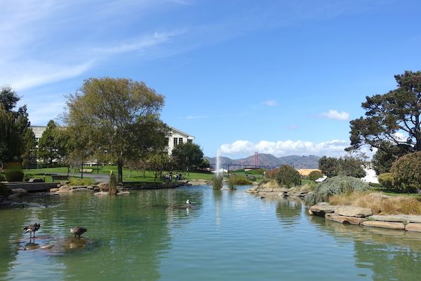 Presidio Park pond with Golden Gate bridge in the background