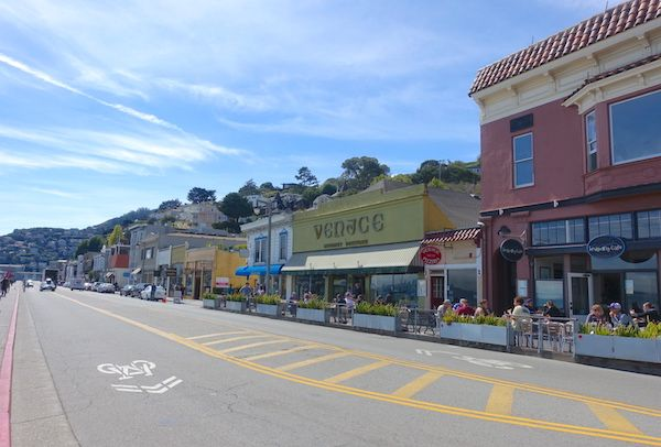 Shops and cafes along Sausalito waterfront