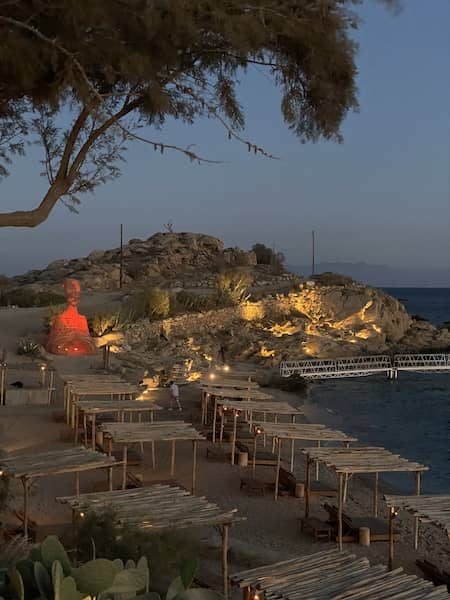 Scorpios beach in the evening