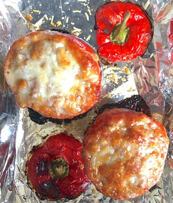 stuffed bell peppers right out of the oven