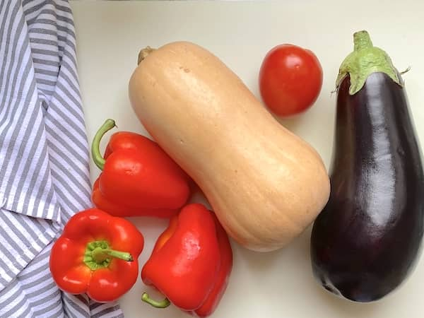 Red bell peppers, butternut squash, tomato and aubergine