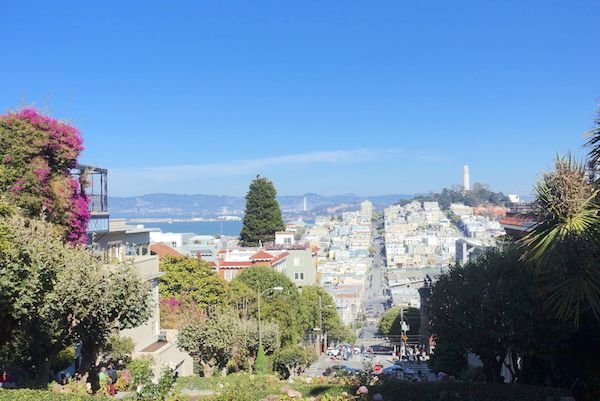 The View from the top of Crooked Lombard Street