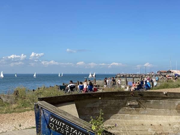 beach, sea, people and sailboats