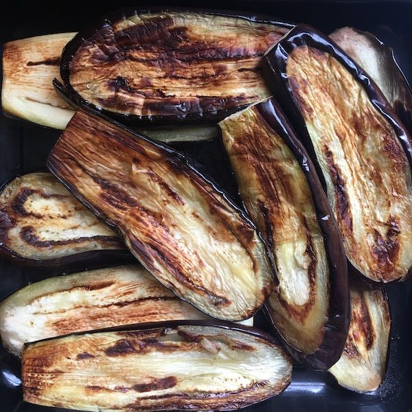 Pan-fried aubergine slices