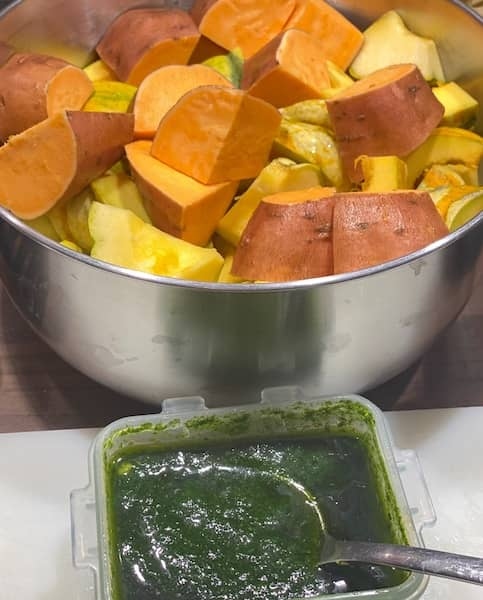 Cut vegetables and marinate on the side