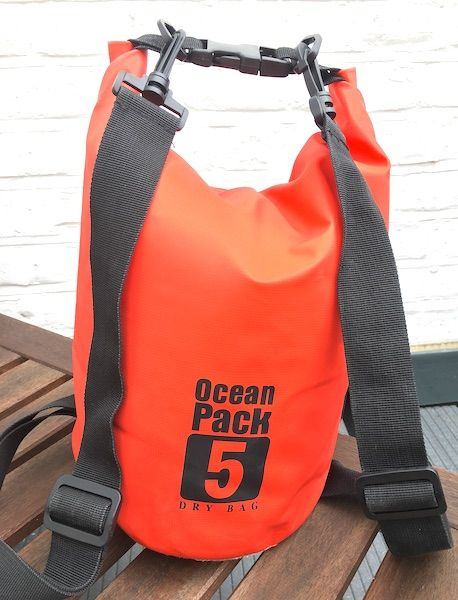orange dry bag backpack