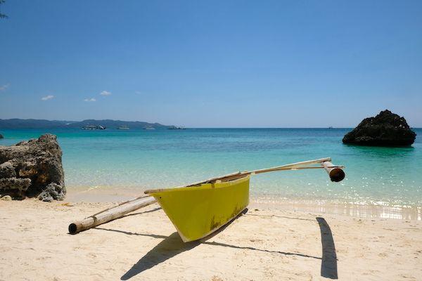 Boat on a paradisiac beach
