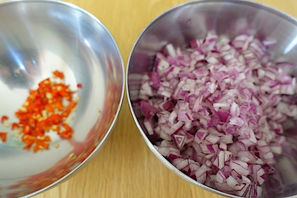 Finely chopped red onion and chilli