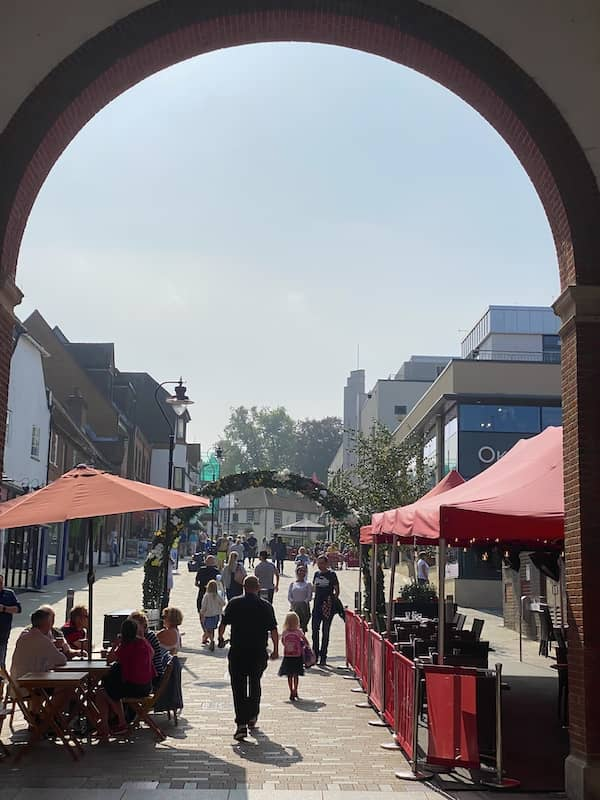 Busy pedestrian street in the town centre