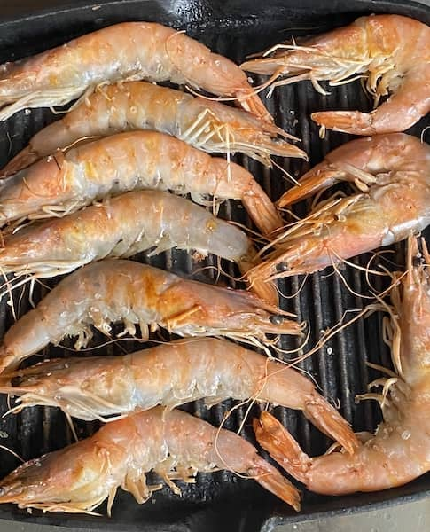 Pink prawns on the grill
