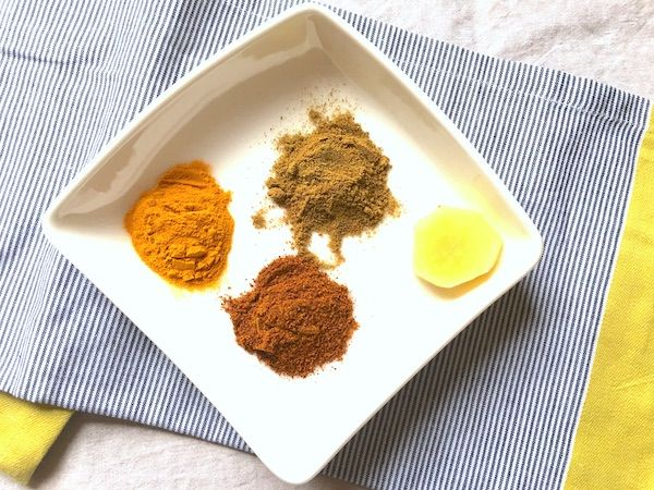 Spices; turmeric, cumin, paprika or aji panca and ginger