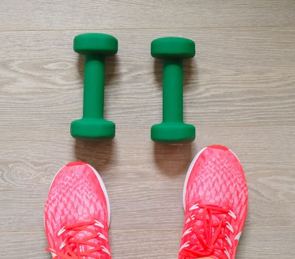 weights and trainers for fitness session