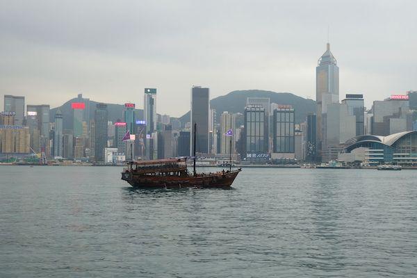 Boat and Hong Kong Island's skyline