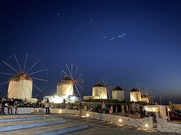 Mykonian windmills at night